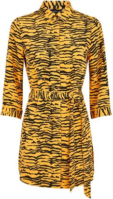 New Look Tiger Print Belted Longline Shirt