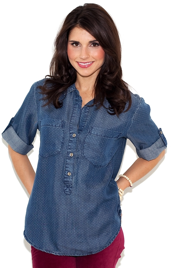 Bella Dahl Pullover Placket Shirt in Vintage Dot Denim