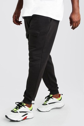 boohoo Mens Black Plus Size Front Pocket Panelled Cargo Jogger, Black