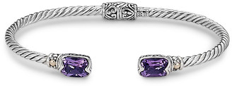 Samuel B. 18K & Sterling Silver 3.10 Ct. Tw. Amethyst Twisted Cable Bangle Bracelet
