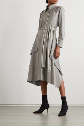 Stella McCartney - Leilani Belted Vegetarian Leather-trimmed Wool-flannel Shirt Dress - Gray