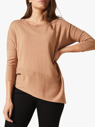 Phase Eight Agatha Asymmetric Knit Top, Camel