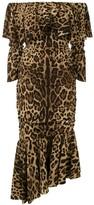Dolce & Gabbana animal print peplum hem dress