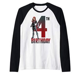 Marvel Black Widow 4th Birthday Pose Portrait Raglan Baseball Tee