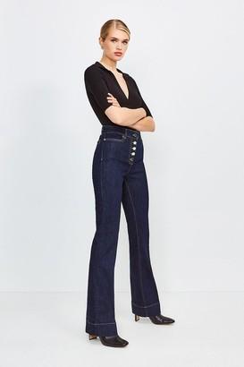 Karen Millen Power Cut Flared Button Front Jean