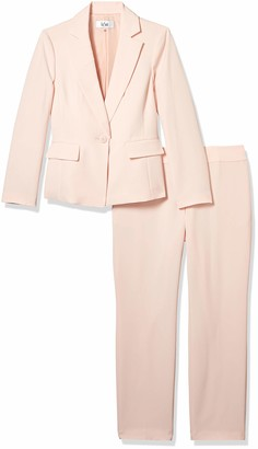 Le Suit LeSuit Women's 1 Button Notch Collar Stretch Crepe Slim Pant Suit