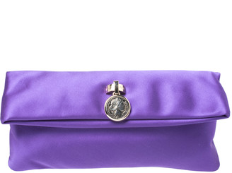 Bvlgari Purple Satin Flap Clutch