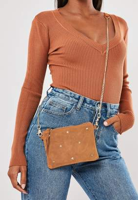 Missguided Tan Faux Suede Star Embellished Purse