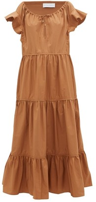 Ephemera - Tiered Cotton-poplin Maxi Dress - Womens - Brown