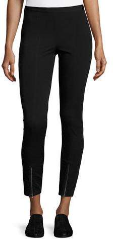 Helmut Lang Ponte Zip-Cuff Reflex Leggings, Black