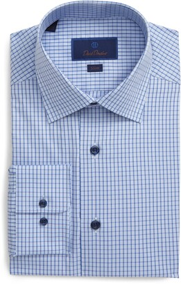 David Donahue Slim Fit Tattersall Dress Shirt