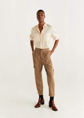 MANGO Soft cargo trousers medium brown - XXS - Women