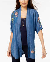 Style&Co. Style & Co Petite Embroidered Denim Kimono, Created for Macy's