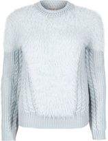River Island Womens Light blue fluffy cable knit sweater