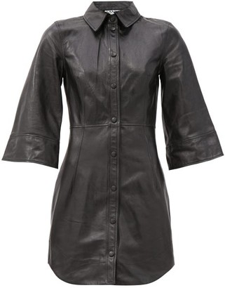 Ganni Bell-sleeve Leather Mini Dress - Black