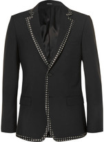 Alexander Mcqueen - Black Print-trimmed Wool And Mohair-blend Blazer