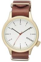 Komono 'Magnus' Round Leather Strap Watch, 46mm