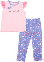 Cutie Pie Baby Pink Owl Top & Floral Pants