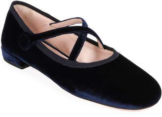 Miu Miu Velvet Cross-Strap Ballerina Flats