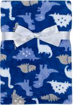 Cutie Pie Baby Royal Blue Dinosaurs Faux Fur Stroller Blanket & Hanger