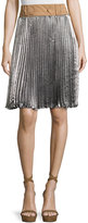 3.1 Phillip Lim Sunburst Pleated Skirt w/ Contrast Waist, Platinum