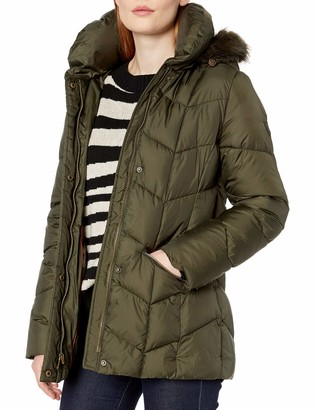 Larry Levine Women's Chevron Quilted Puffer W/Pillow Collar & Detachable Faux-Fur Trimmed Hood