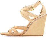 See by Chloe Suede Strappy Wedge Sandal, Natural