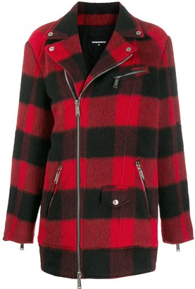 DSQUARED2 Check-Pattern Zipped Coat