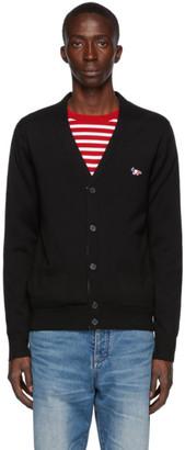 MAISON KITSUNÉ Black Wool Tricolor Fox Patch Cardigan