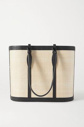 Hunting Season Basket Leather-trimmed Raffia Tote - Black