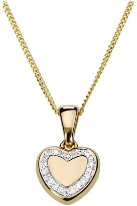 Love Diamond Love DIAMOND Gold Plated Sterling Silver Diamond Set Heart Pendant Necklace
