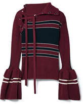 Self-Portrait Lace-up Striped Ribbed Cotton-blend Sweater - Burgundy