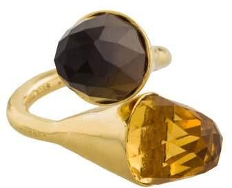 Kara Ross 18K Citrine & Smoky Quartz Medium Clasp Ring