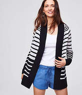 LOFT Shadow Stripe Sheer Open Cardigan