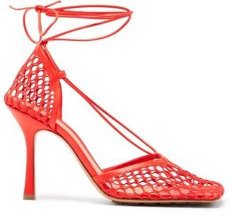 Bottega Veneta Stretch Wraparound Leather And Mesh Pumps - Red