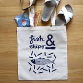 N. Stephanie Cole Design Fish Chip Illustrated Tote Bag