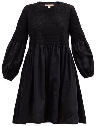 Brock Collection Rafaella Smocked Cotton-blend Dress - Black