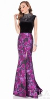 Terani Couture Two Piece Velvet and Floral Print Evening Gown