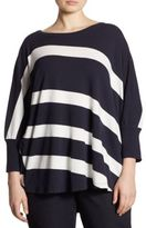 Lafayette 148 New York, Plus Size Striped Batwing Sleeve Sweater