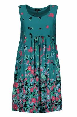 Ulla Popken Women's Plus Size Pretty Print Knit Tank Tunic Dress Caribbean Green Multi 16/18 747522 46-42+