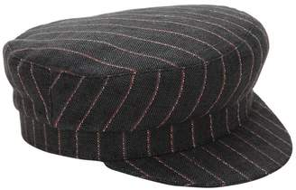 Isabel Marant STRIPED LINEN CAPTAIN'S HAT