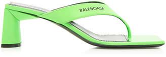 Balenciaga Double Square Sandals in Fluo Green & Black | FWRD
