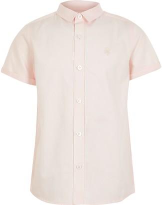 River Island Boys Pink short sleeve twill shirt