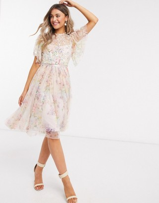 Needle & Thread exclusive embellished top mini dress in floral print
