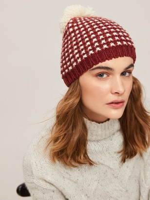 John Lewis & Partners Grid Stitch Chunky Pom Pom Beanie Hat, Wine/Cream