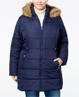 American Rag Trendy Plus Size Faux-Fur-Trim Puffer Coat, Only at Macy's