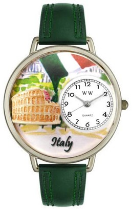 Whimsical Watches Italy Hunter Green Leather and Silvertone Unisex Quartz Watch with White Dial Analogue Display and Multicolour Leather Strap U-1420005