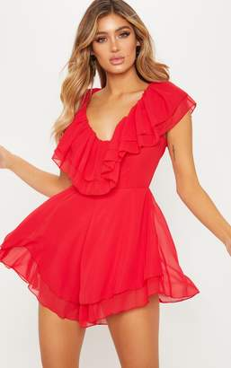 PrettyLittleThing Red Chiffon Frill Plunge Playsuit