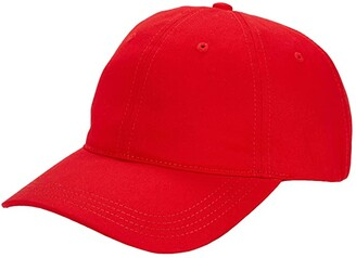 Lacoste Side Croc Twill Leather Strapback Cap (Red) Baseball Caps