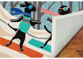 """The Holiday Aisle Stamper Daschund Through The Snow Hand-Tufted Blue/Beige Indoor/Outdoor Area Rug Size: Rectangle 1'8"""" x 2'6"""""""